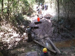 Urban Archeology Corps works on bridge repair on Blue Blazes Trail