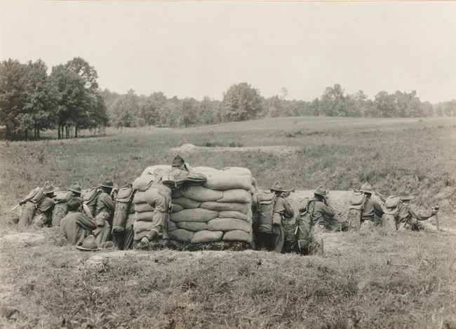 Officer candidates conduct weapons training at Chickamauga Battlefield in 1917