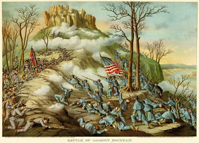 Lithograph of the Battle of Lookout Mountain