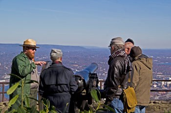 A Park Ranger leads a tour of Point Park on the 150th Anniversary of the Battle of Lookout Mountain