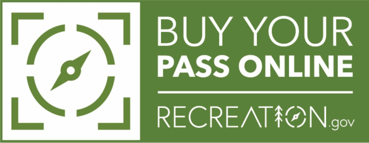 """Buy your pass online at recreation.gov"" logo"