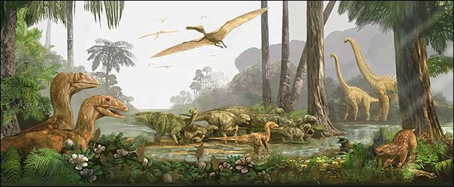 Illustrated Cretaceous tropical forest landscape with dinosaurs roaming on land and flying in the sky. Palm trees and flowers surround a still, shallow river.