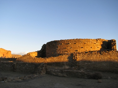 Photo of Chetro Ketl at sunset.