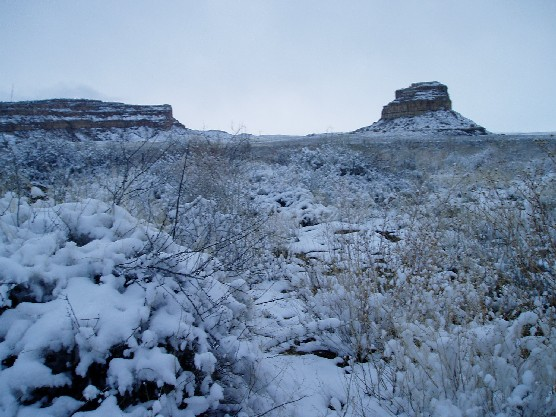 Photo of Fajada Butte in snow