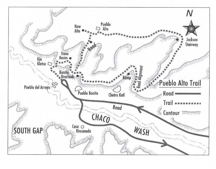 Map of trail to Pueblo Alto