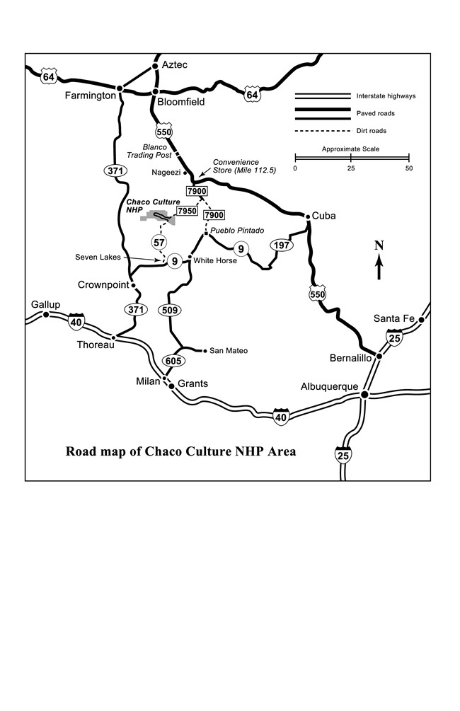 Map of roads around Chaco Culture NHP