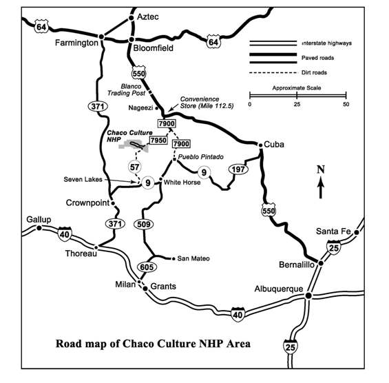 Road map of Chaco area