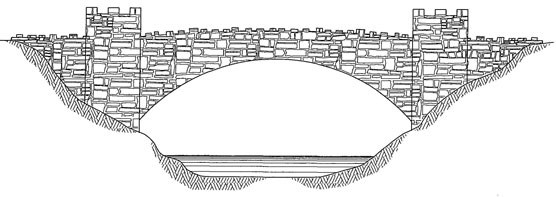 Drawing of the single-arch masonry bridge with four cylindrical, crenelated towers.