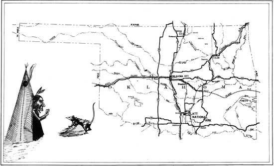 1930s map of Oklahoma showing the location of Platt National Park