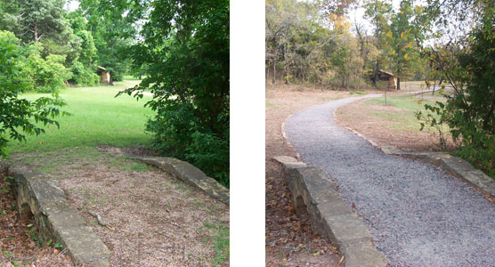 before and after photographs showing the restoration of historic trails
