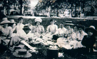 Ladies of the early 1900s enjoying a picnic