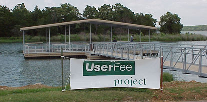 fishing dock with poster display in front