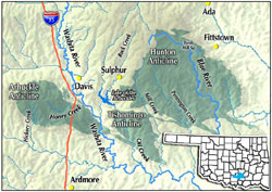 Map of aquifer area in central Oklahoma