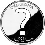 A Quarter-dollar coin with a question mark on it