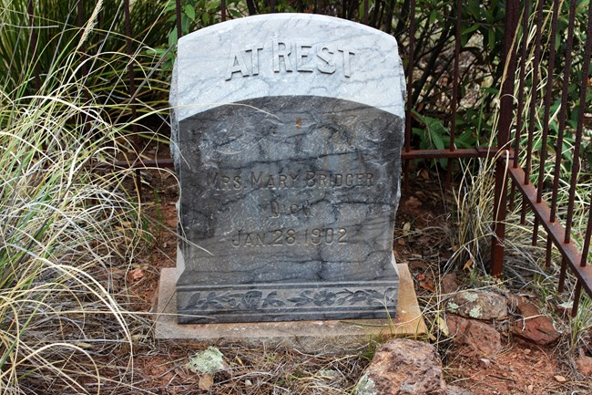 Gravestone that says At Rest on the top, and then Mrs. Mary Bridger, died Jan. 28, 1902.