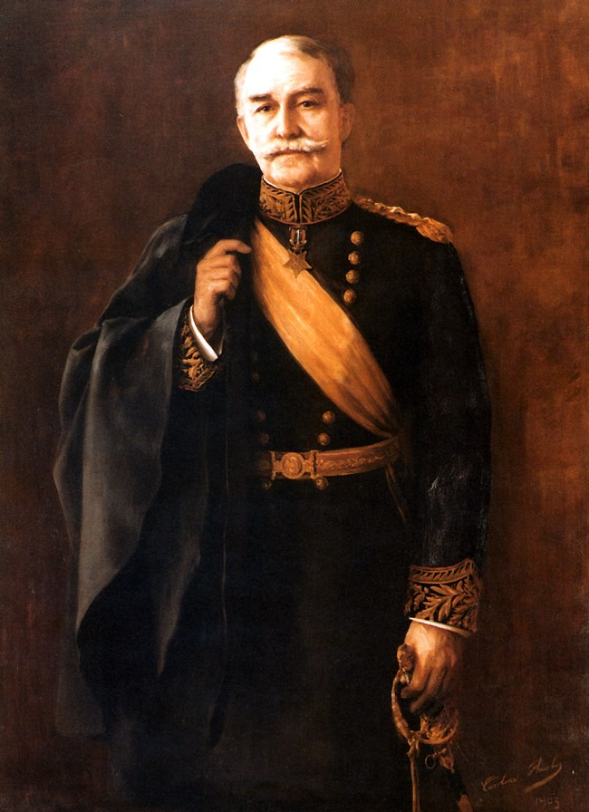 Painted portrait of man in formal military uniform.