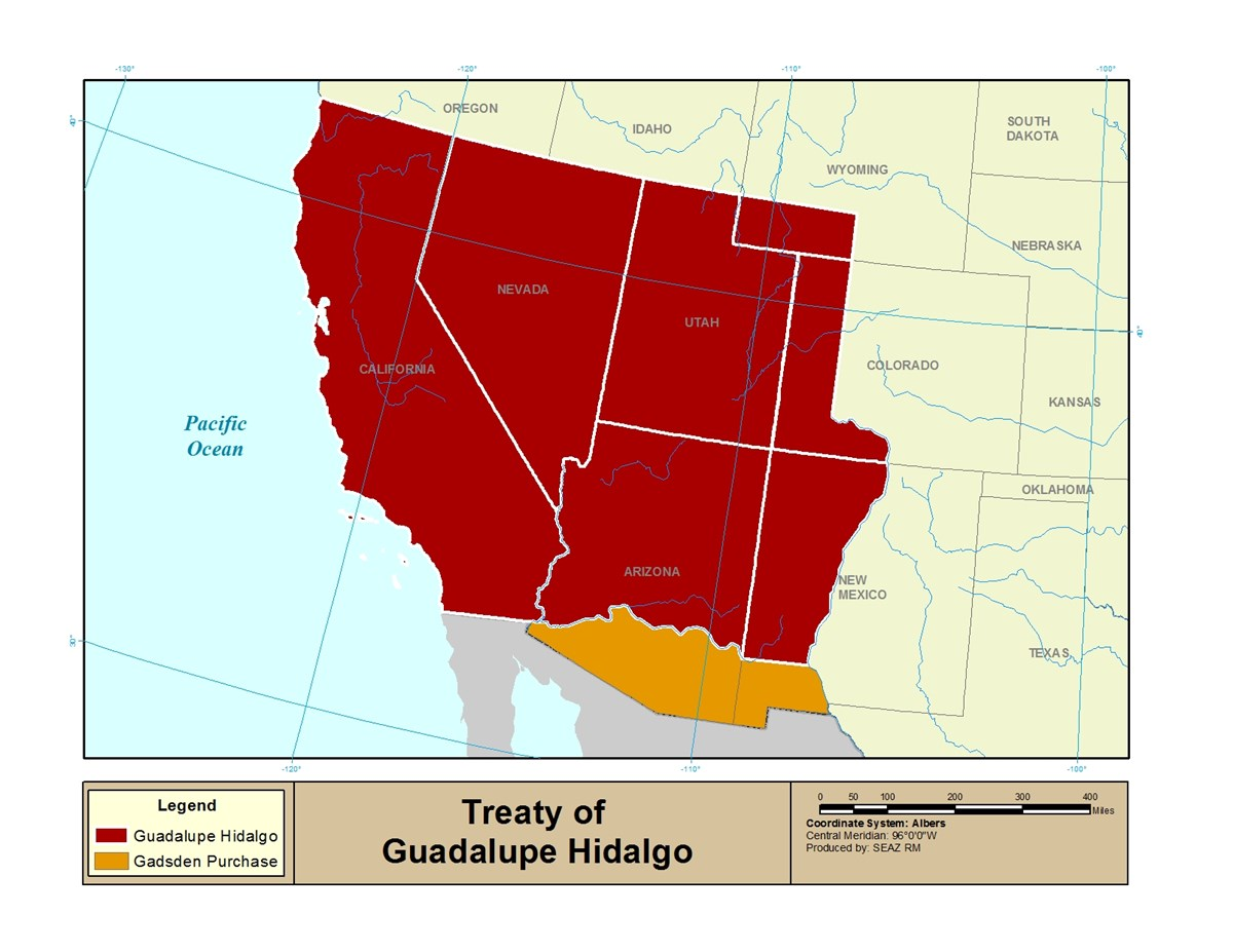 Map of land Mexico ceded to the United States of America during the Treaty of Guadalupe-Hidalgo, as well as the Gadsden Purchase.