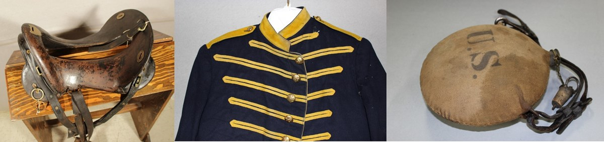 A historic saddle tree, blue and yellow military coat, and water canteen that says US.