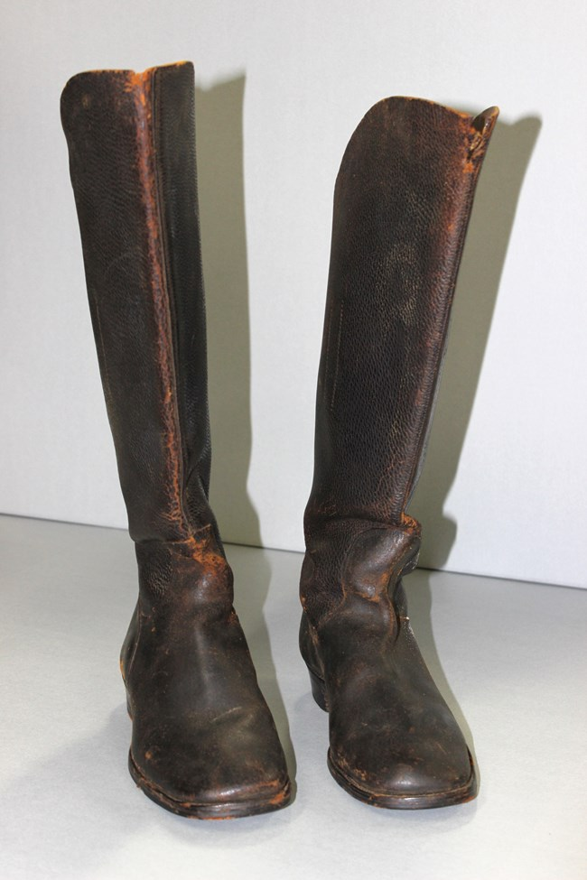 Tall pair of brown riding boots.