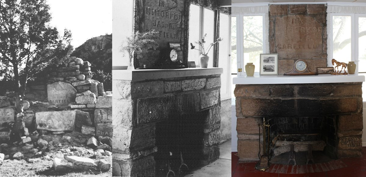 Montage of three photos of a stone monument and two fireplaces.