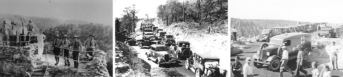 Three black and white images: men standing on a stone platform overlooking rock pinnacles; lots of cars clogging a narrow road; and lots of people and cars in a parking area with nice views.