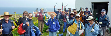 Volunteers preparing to weed non-native plants on Anacapa Island. Photo credit: Staci Kaye-Carr