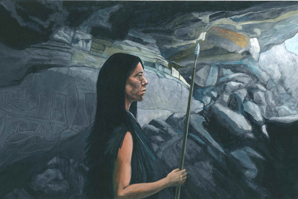 American Indian woman standing in cave with spear.
