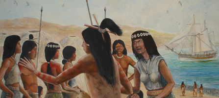 Painting of an American Indian woman on San Nicolas Island in the 1800s