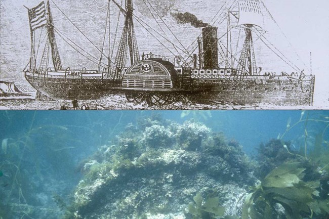 Drawing of paddle wheel steamer and photo of shipwreck.