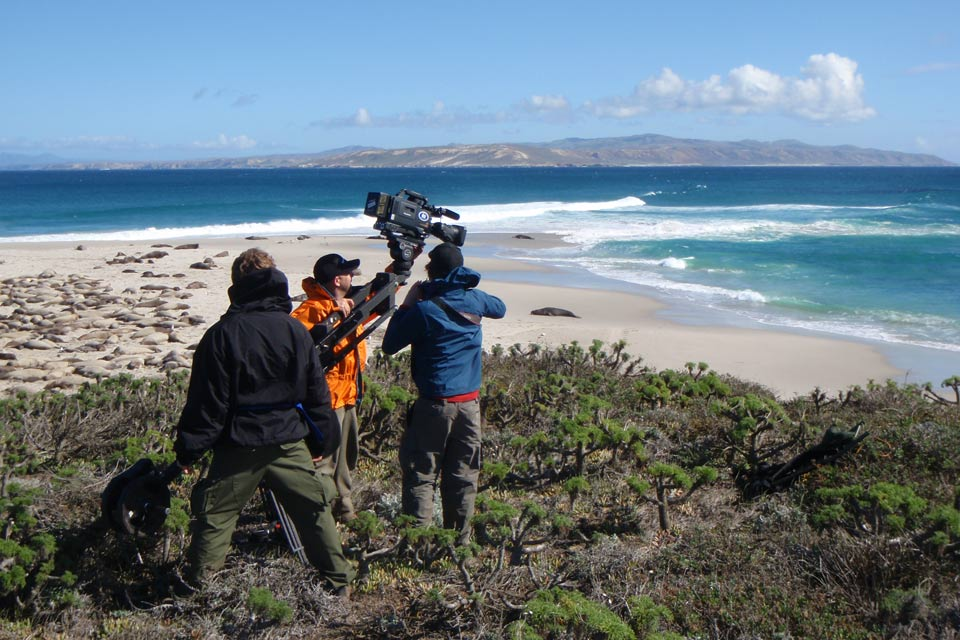 Commercial film crew at Cardwell Point.