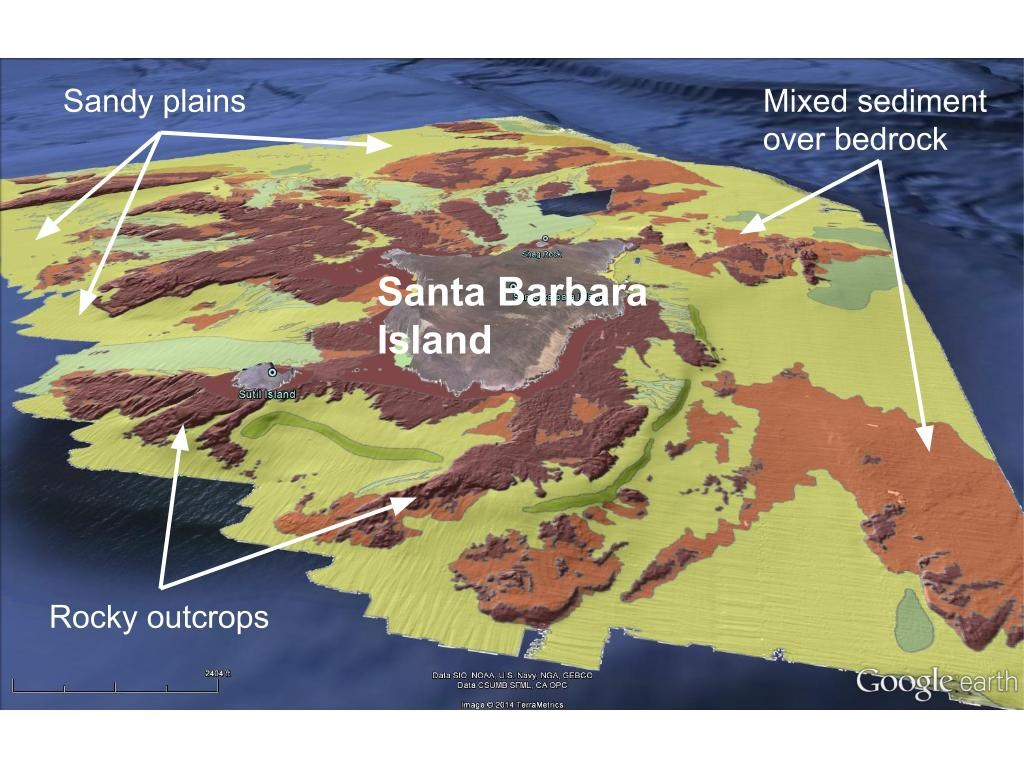 Map of the seafloor around Santa Barbara Island