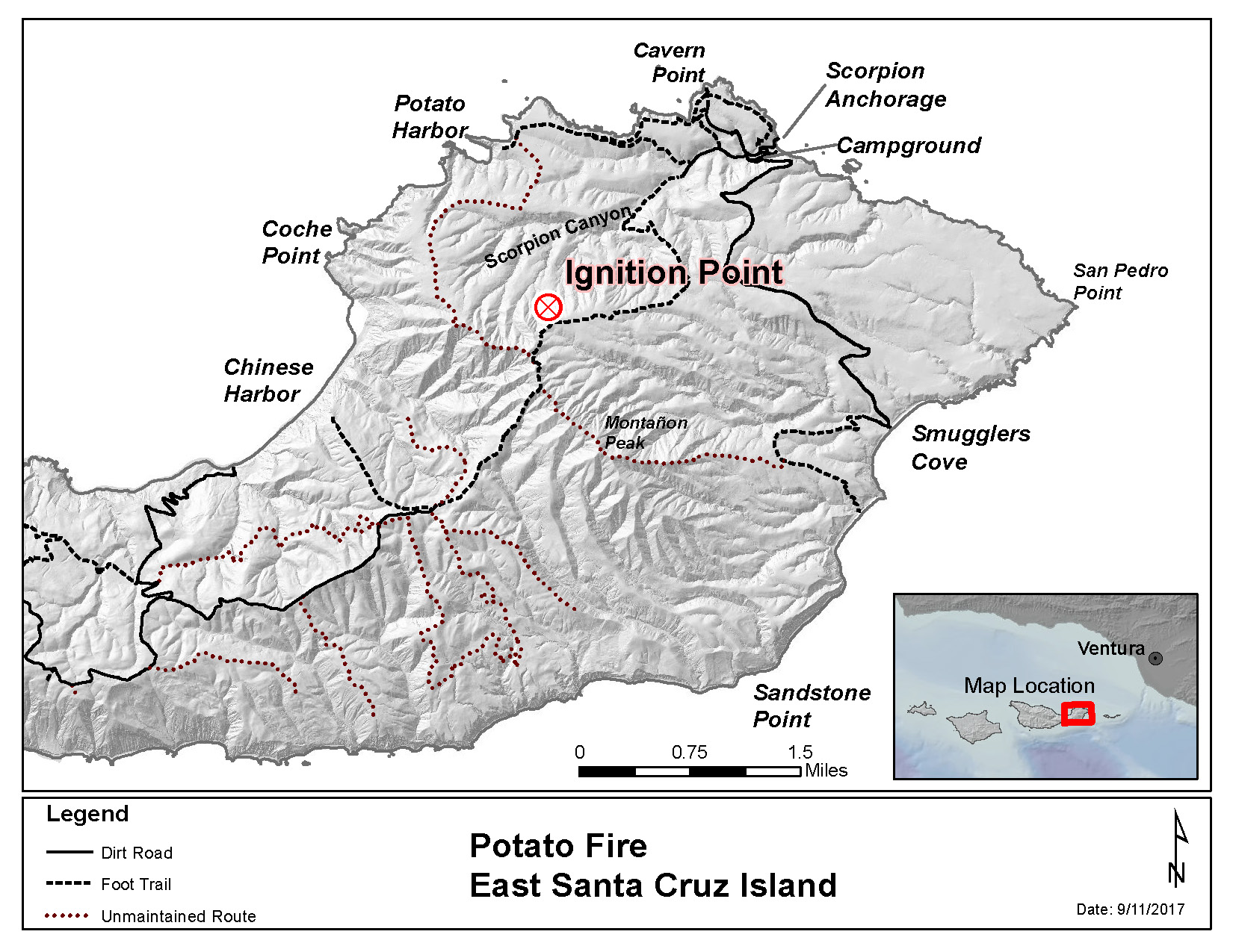 Map of eastern santa cruz island showing roads and trails and ignition point of fire.