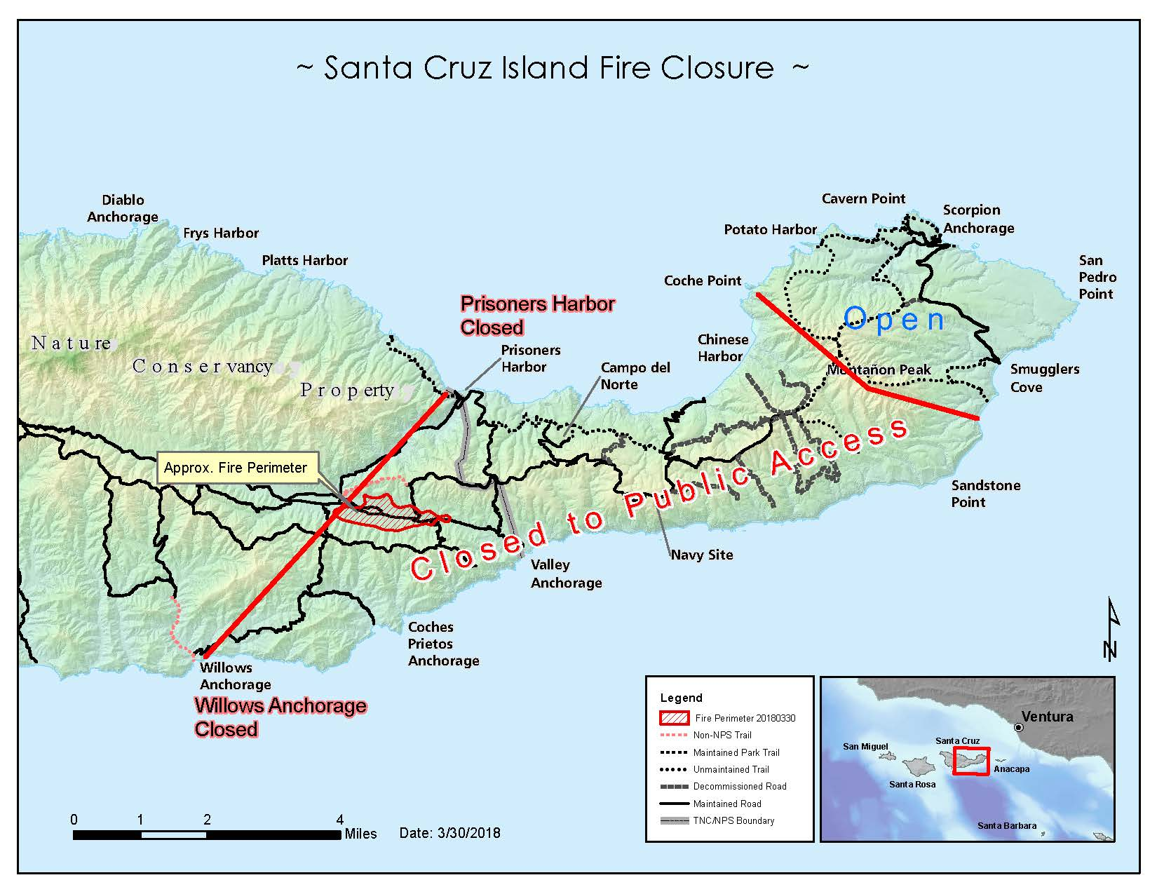 Map showing island with roads and trails and closed area to the public due to fire.