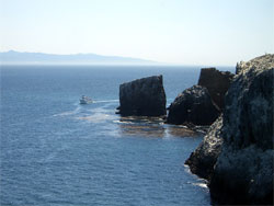 arch rock with boat, east end anacapa island