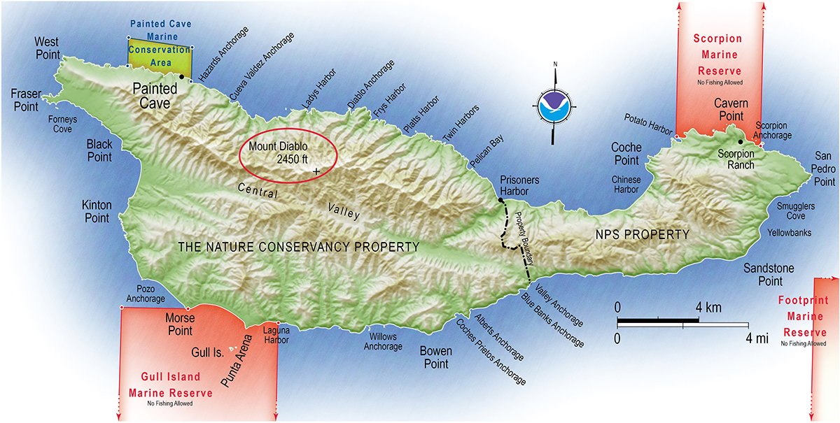 map of santa cruz island with a red circle around mount diablo