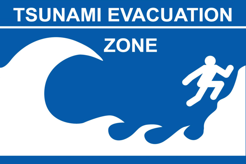 Tsunami evacuation zone graphic