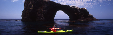Kayaking near Arch Rock, Anacapa Island
