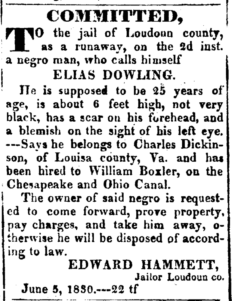 runaway slave on canal ad