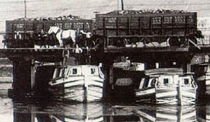 Historic photo of canal boats and mules
