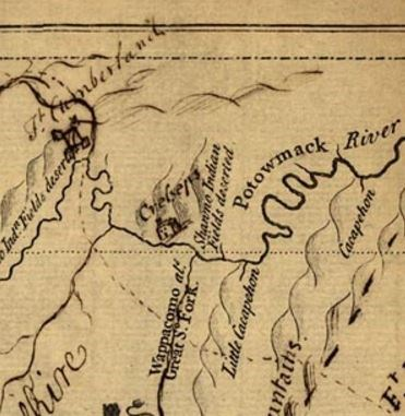 Section of the 1747 Fairfax Map of Western Virginia Showing Cresap's Home.