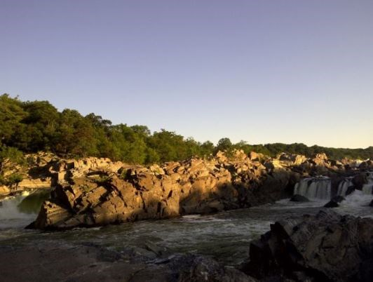 view of great falls at sunrise