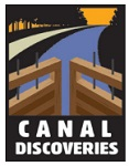 The Canal Discoveries logo features a lift lock, the towpath, and the canal basin.