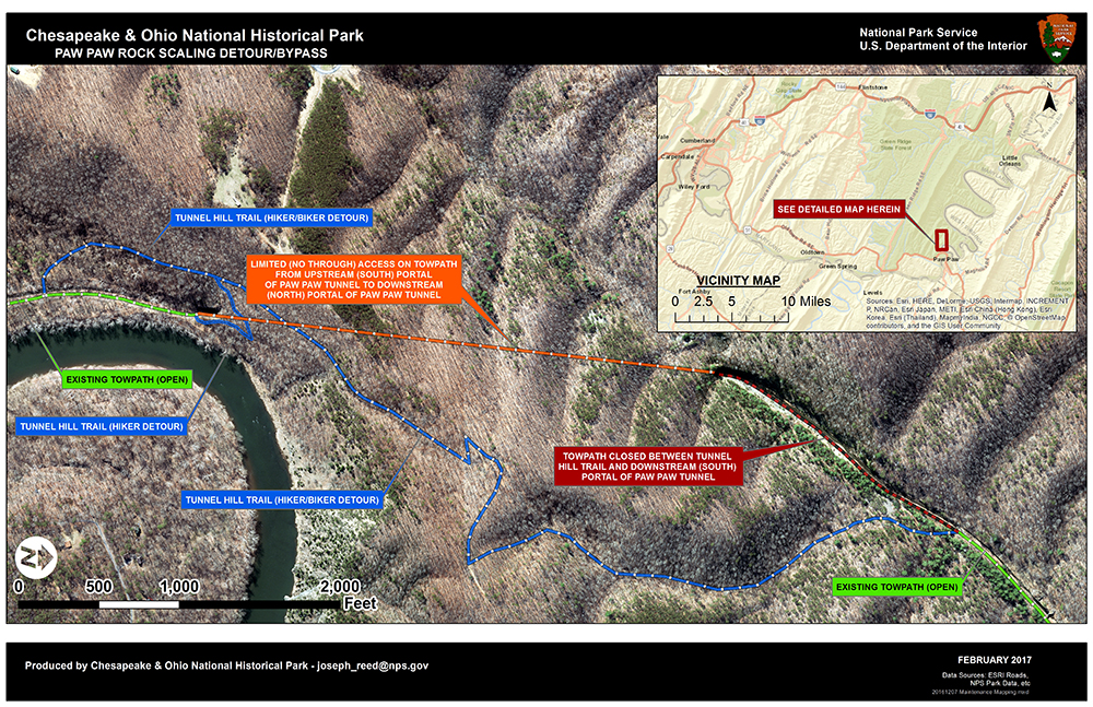 A map showing the towpath detours around the Paw Paw Tunnel and boardwalk closure.