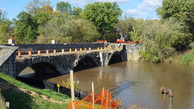 The start of the Conococheague Aqueduct Restoration in 2017