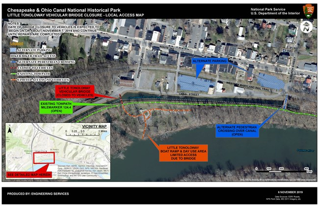 A map showing the detour around the Little Tonoloway bridge closure.
