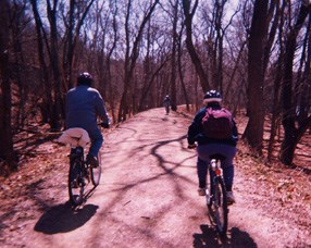 Photo of bikers on the Berma Road adjacent to the C&O Canal.