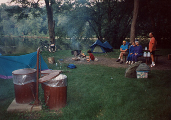 Photo of campers in park.