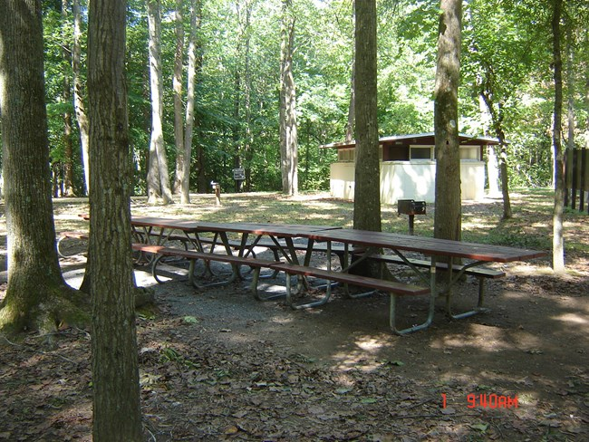 Carderock picnic tables and bathroom (2)