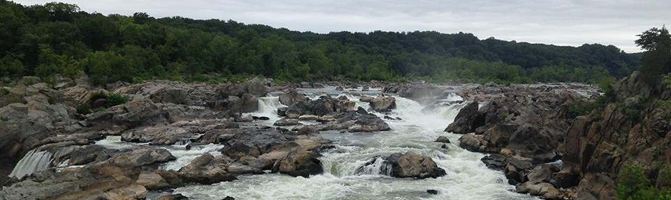 Water rushes over the viewpoint at Great Falls