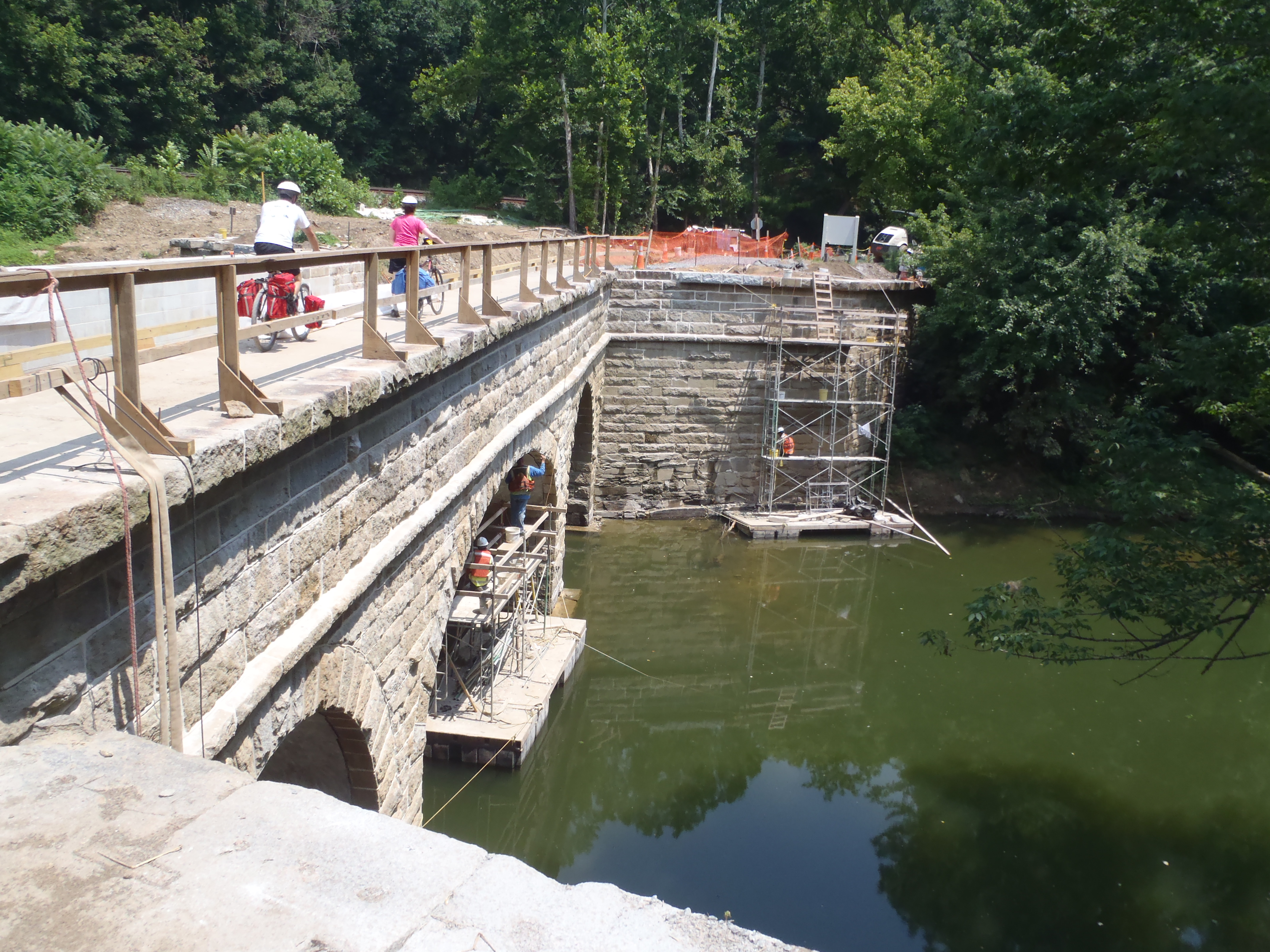 Workers on the Cotoctin Aqueduct restoration project.